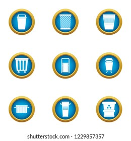Pannier icons set. Flat set of 9 pannier icons for web isolated on white background