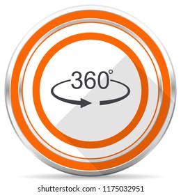 Panorama 360 silver metallic chrome round web icon on white background with shadow