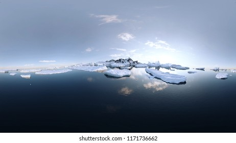 360° Panorama 3D Illustration of the Arctic / Antarctic. The ice is partly thawed. Some ice floes are floating on the sea / ocean under a clear blue sky.