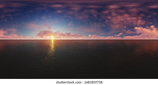Panorama above the ocean at sunset. Made with one 360 degree lense without any seams. ready for 360 virtual reality. 3D illustration