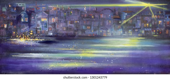 Panorama of abstract night town. Surreal oil painting artwork.