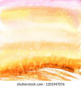 Panorama Autumn landscape with sunrise. Watercolor background.