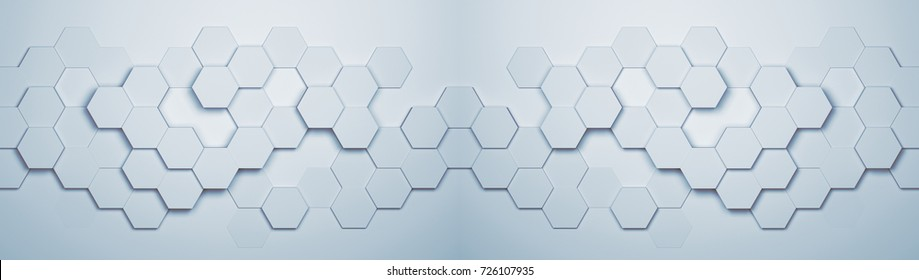 Panorama background of abstract hexagon pattern copy space (3D Rendering)