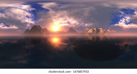 Panorama of a beautiful sunset over the water among the mountains.HDRI, environment map , Round panorama, spherical panorama, equidistant projection, 360 high resolution panorama  3d rendering,