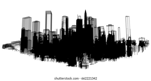 Panorama black city skyscraper tower building 3d illustration with white background.