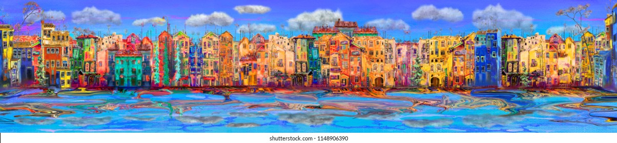 Panorama of bright town near the sea, oil painting cityscape