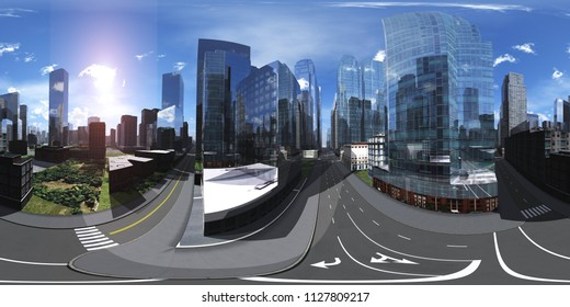Panorama of the city. Environment map. HDRI map. equidistant projection. Spherical panorama. 3D rendering