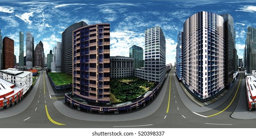 Panorama of the city. Environment map. HDRI map. Equirectangular projection. Spherical panorama. 3d rendering