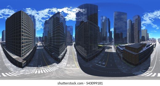 Panorama of the city. Environment map. HDRI map. Equirectangular projection. Spherical panorama. 3d rendering.