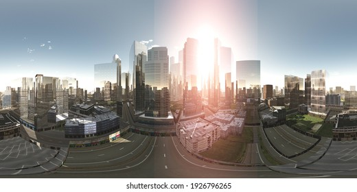 Panorama of the city. HDRI, environment map , Round panorama, spherical panorama, equidistant projection, panorama 360, cityscape, 3d rendering