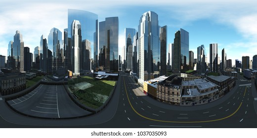 panorama of the cityscape, HDRI. Equirectangular projection. Spherical panorama. Panorama of the city. Environment map.