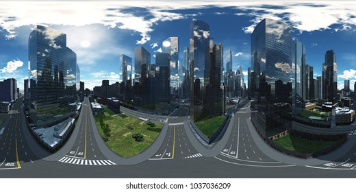 panorama of the cityscape, HDRI. Equirectangular projection. Spherical panorama. Panorama of the city. Environment map. 3D rendering