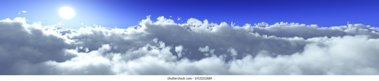 Panorama of clouds, the sun over the clouds, sunset in the clouds, flight over the clouds, 3D rendering