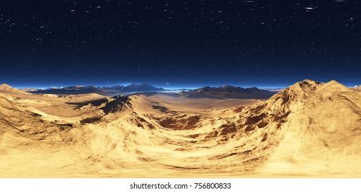 Panorama of desert landscape sunset, environment 360° HDRI map. Equirectangular projection, spherical panorama. 3d rendering