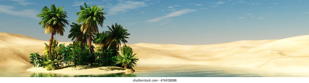 Panorama of the desert. Oasis and palm trees. banner.3D rendering