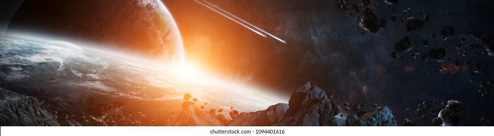 Panorama of a distant planet system from space during sunrise 3D rendering elements of this image furnished by NASA