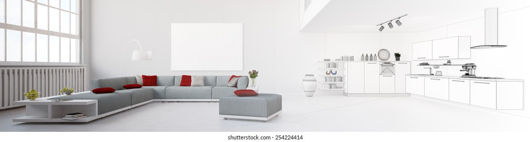 Panorama with eat-in-kitchen tranforming from rendering to wireframe mesh (3D Rendering)