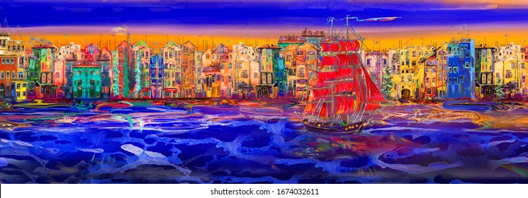 """Panorama of the embankment of St. Petersburg and a ship with red sails sailing for the holiday """"Alye Parusa"""" Oil painting."""