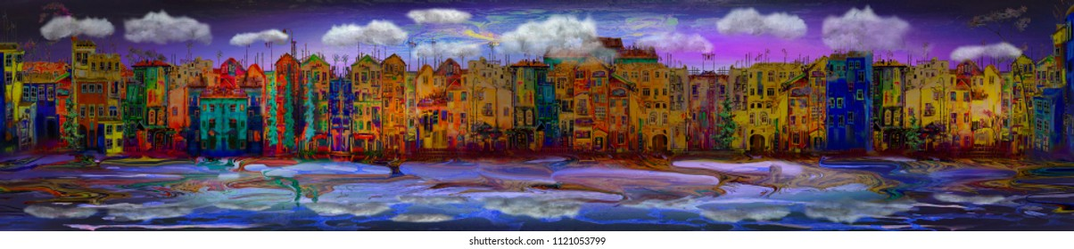 Panorama of evening town, oil painting artwork