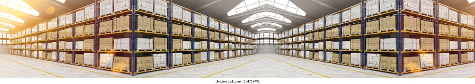Panorama of huge warehouse with boxes in shelves (3D Rendering)