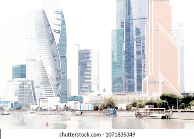 Panorama of International Business Center of Moscow(Moscow-City). Design in the style of Pastel Paintings Art.