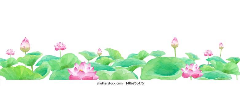 Panorama of lotus flower pond, watercolor illustration