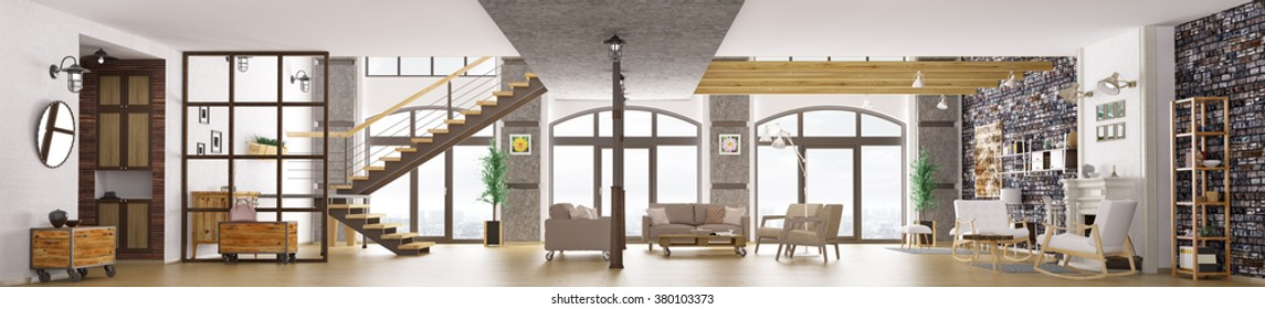 Panorama of modern loft apartment interior, living room, hall, staircase, fireplace 3d rendering