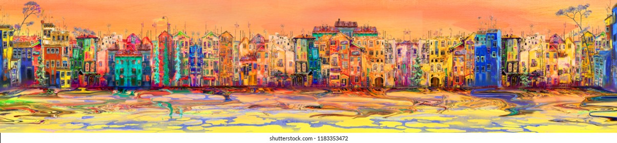 Panorama of morning town near the sea. Oil painting cityscape.