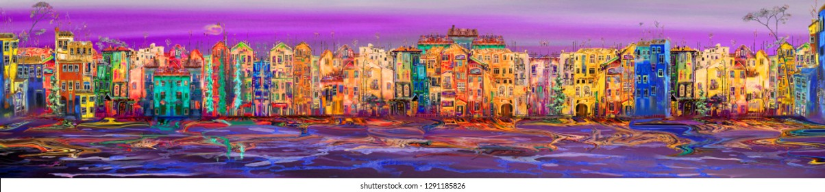 Panorama of morning town near the sea with pink sky. Oil painting cityscape.