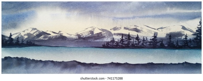 Panorama Mountain Landscape. Hill peak,  spruce forest, lake. Watercolor illustration.
