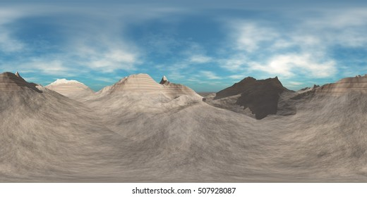 Panorama Mountains. Environment map. HDRI map. Equirectangular projection. Spherical panorama. 3d rendering.