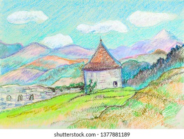 Panorama of mountains range with ancient tower, Slovakia
