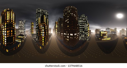 Panorama of the night city, Environment map. HDRI map. equidistant projection. Spherical panorama , 3D rendering