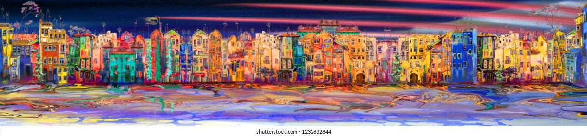 Panorama of night resort town near the sea. Oil painting cityscape.