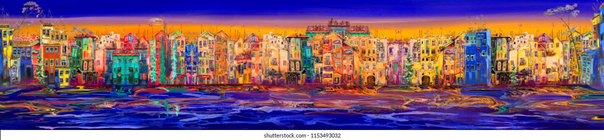 Panorama of night town near the sea before sunrise. Oil painting cityscape.