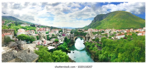 Panorama of The Old Bridge in Mostar in a beautiful summer day, Bosnia and Herzegovina. Illustration.
