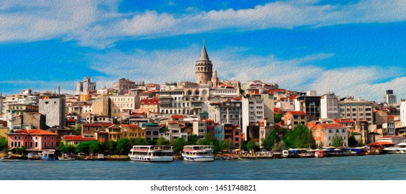 panorama of old districts Istanbul (Karakoy, Galata) from the Bosphorus on a sunny day on background blue oil paint