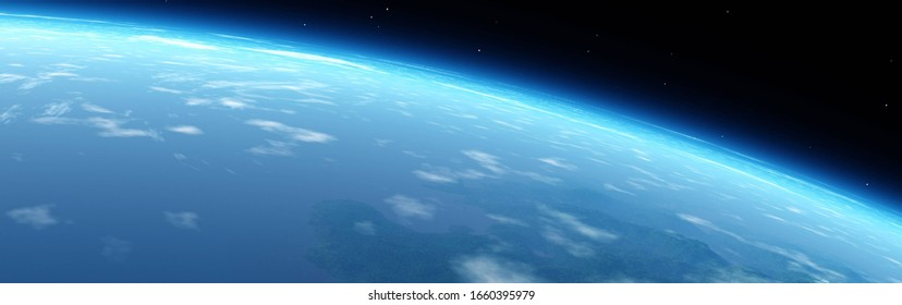 Panorama of the planet Earth from orbit, Earth satellite view, Planet from space, 3D rendering