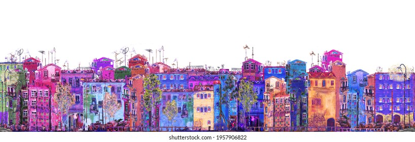 Panorama of a purple street on a white background. Oil on canvas.