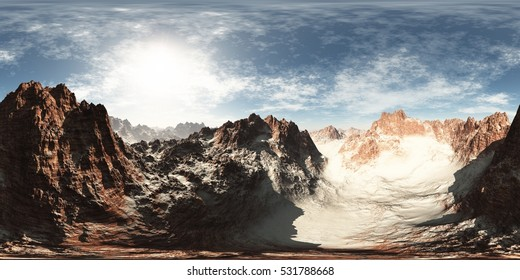 panorama of rocks in desert. made with the one vr 360 degree lense camera without any seams. ready for virtual reality 3D illustration