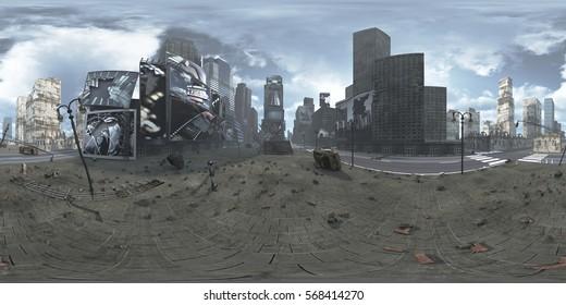 Panorama of ruined Time Square New York Manhattan. HDRI. Equirectangular.3D rendering