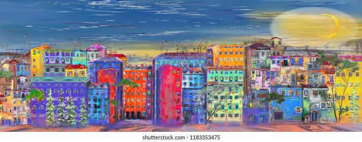 Panorama of Saint-petersburg street. Oil painting cityscape.