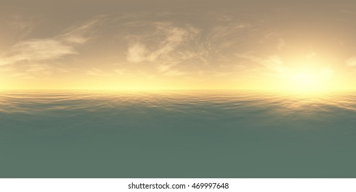 panorama of sea sunset. 3D rendering. Environment map. HDRI map. Equirectangular projection. Spherical panorama. landscape.