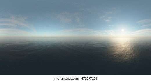 panorama of sea sunset. Environment map. HDRI map. Equirectangular projection. Spherical panorama. landscape. 3d rendering