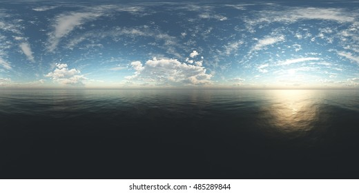 panorama of sea sunset. Environment map. HDRI map. Equirectangular projection. Spherical panorama. landscape 3d rendering