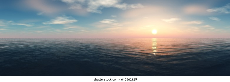 Panorama of sea sunset, ocean sunrise, seascape, 3d rendering