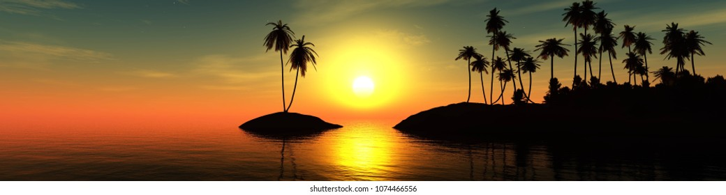 panorama of the sea sunset, the sun over a tropical island with palm trees, 3D rendering