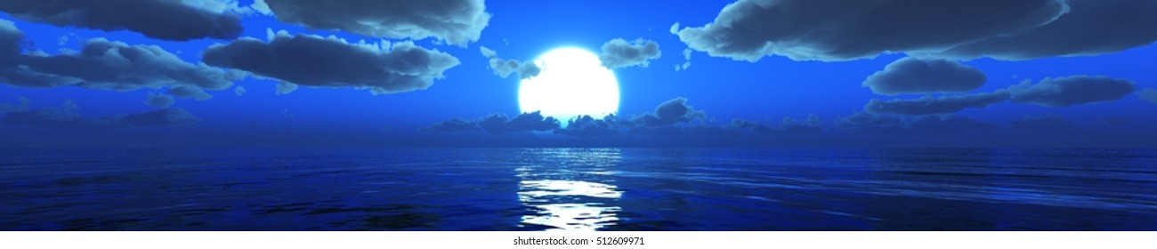 panorama of the sea under the moonlight. moonrise over the sea. 3d rendering.