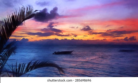 Panorama seascape purple, sunset, Samana, Grand Bahia Principe El Portillo