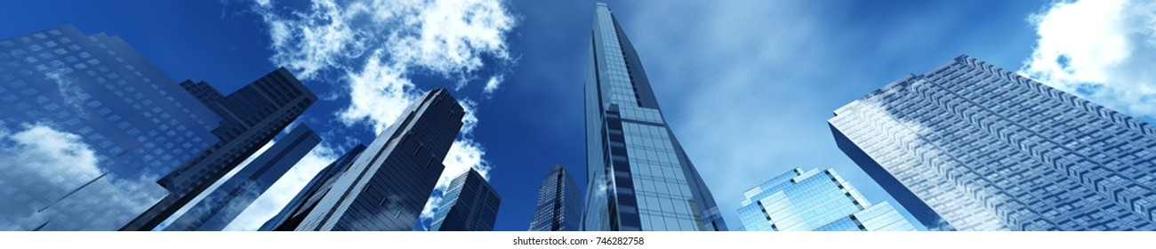 panorama of skyscrapers against the sky with clouds, banner, 3d rendering